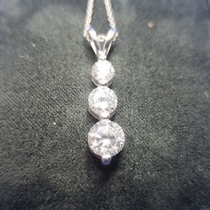 Jewelry - 3 Stone Necklace.  Cubic Zirconia & Sterling Silve